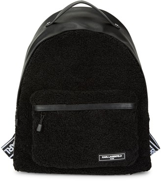 Karl Lagerfeld Paris Apres-Ski Logo Faux Fur Backpack