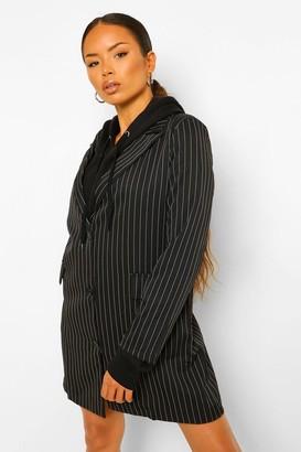 boohoo Pinstripe Oversized Blazer Dress