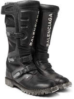 Balenciaga Leather Motorcycle Boots - Black