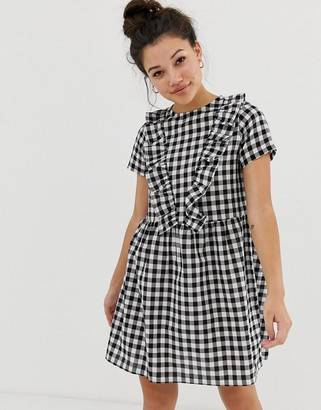 Daisy Street smock dress with ruffles in gingham-Black