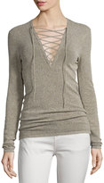IRO Alida Lace-Front Knit Top, Beige/Black