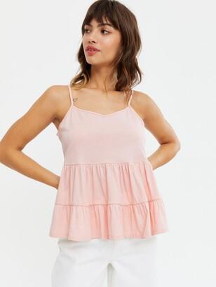 New Look Double Peplum Cami - Pink