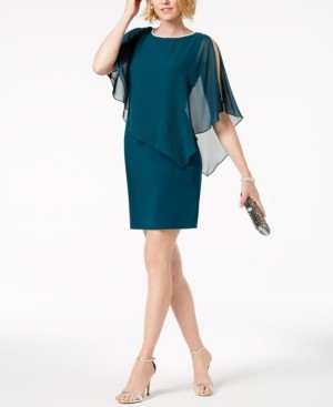 MSK Rhinestone-Trim Chiffon Popover Dress