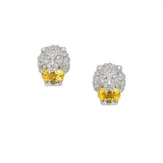 Gucci 18kt white gold lion head stud earrings