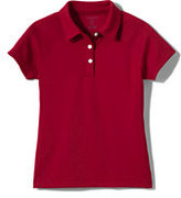 Classic Girls Short Sleeve Textured Active Polo-Red
