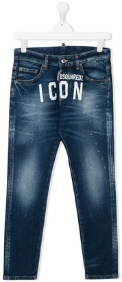 DSQUARED2 TEEN Icon print skinny jeans