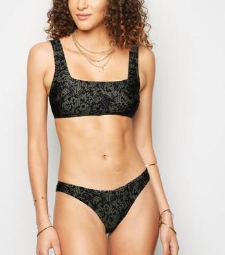 New Look Snake Print V Front Bikini Bottoms