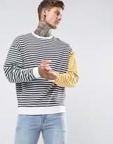 Asos Oversized Sweatshirt With Tri Colour Stripe
