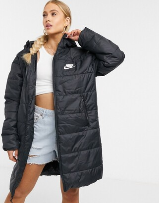 Nike longline padded jacket with back swoosh in black