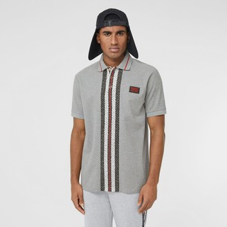 Burberry Monogram Stripe Print Cotton Pique Polo Shirt