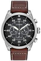Citizen Ca4210-24e Avion Chronograph Date Leather Strap Watch, Brown/black