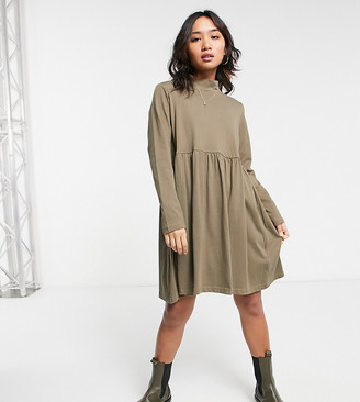 Brave Soul Petite Lizzie high neck smock dress in khaki
