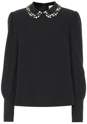 RED Valentino Embellished crepe blouse