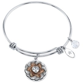 "Unwritten Follow Your Heart"" Flower Bracelet in Stainless Steel & Rose Gold-Tone"