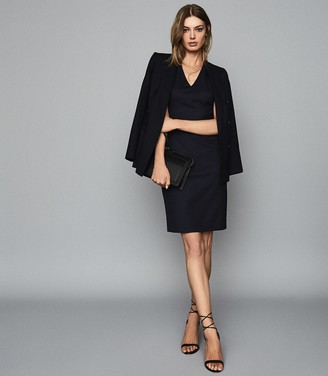 Reiss HARTLEY SLEEVELESS DRESS TAILORED V-NECK DRESS Navy