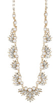 Natasha Accessories Crystal & Synthetic Pearl Leaf Necklace