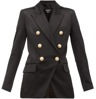 Balmain Oversized Double-breasted Silk Blazer - Womens - Black
