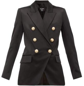 Balmain Oversized Double-breasted Silk Blazer - Womens - Black