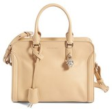 Alexander McQueen 'Small Padlock' Calfskin Leather Satchel - Beige