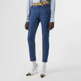 Burberry Skinny Fit Deer Print Trim Japanese Denim Jeans