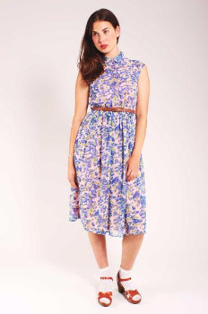 Sugarhill Boutique Charlie Floral Midi Shirt Dress - 14 - Blue/Pink
