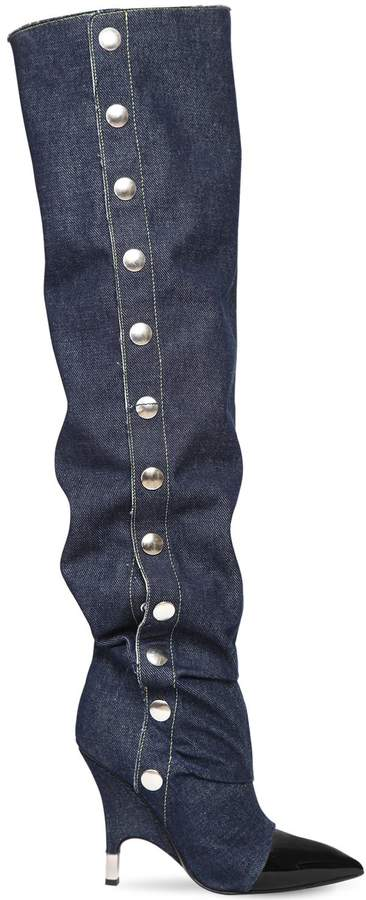 Giuseppe Zanotti Design 110mm Slouchy Denim Over The Knee Boots