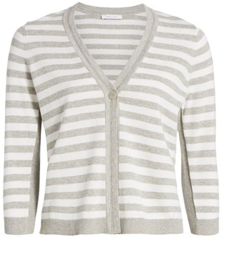 Joan Vass Petite Stripe Cotton Cardigan