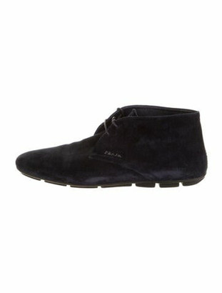 Prada Suede Lace-Up Boots Blue