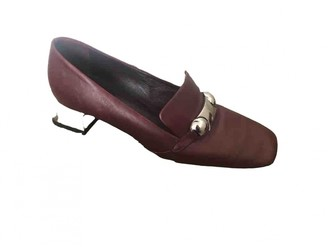 Burberry Burgundy Leather Mules & Clogs