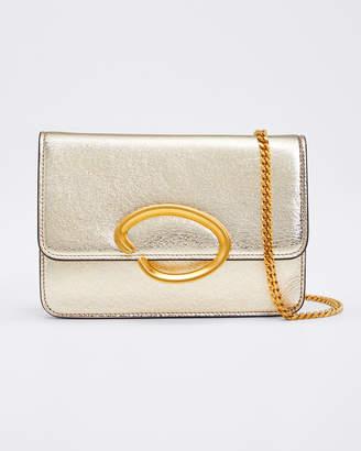 Oscar de la Renta O Chain Metallic Leather Wallet Crossbody Bag