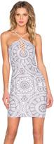 Donna Mizani Medallion Halter Lace Up Mini Dress