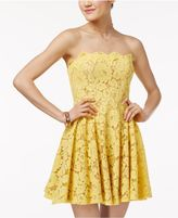 City Studios Juniors' Strapless Lace Fit and Flare Dress