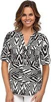 Calvin Klein Women's Printed Crew Neck Roll Sleeve