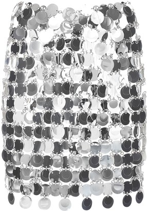 Paco Rabanne Round Sequined Mesh Mini Skirt