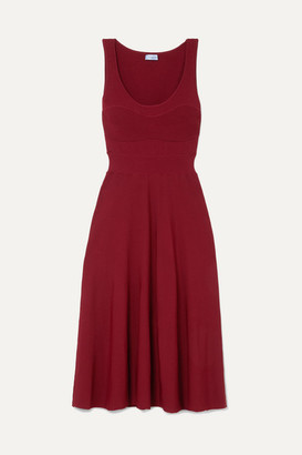 Thierry Mugler Ribbed Jersey Midi Dress - Red