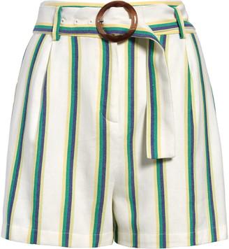 Halogen Belted Stripe Twill Shorts
