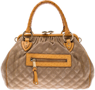 Marc Jacobs Light Brown/Mustard Quilted Coated Fabric and Ostrich Stam Satchel