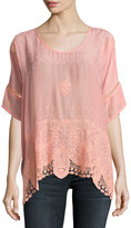 Johnny Was Princess Short-Sleeve Georgette Top, Coral Sunset, Plus Size