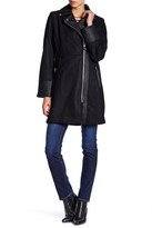 GUESS Faux Leather Trim Wool Blend Coat