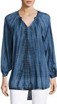 Neiman Marcus Tie-Dye Long-Sleeve Split-Neck Tunic, Blue