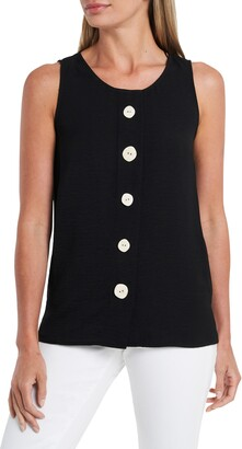 Vince Camuto Sleeveless Button Front Rumple Twill Blouse