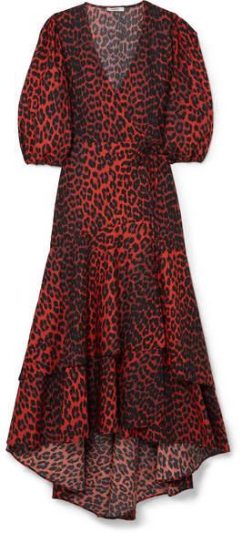 Ganni Bijou Leopard-print Cotton-poplin Wrap Dress - Leopard print