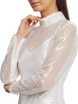 STAUD Liza Sequin Mock-Neck Dress