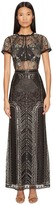 Marchesa All Over Embroidered Gown w/ Cap Sleeves Women's Dress
