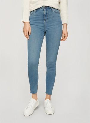 Miss Selfridge EMILY High Waist Raw Hem Mid Wash Denim Ankle Grazer Skinny Jeans