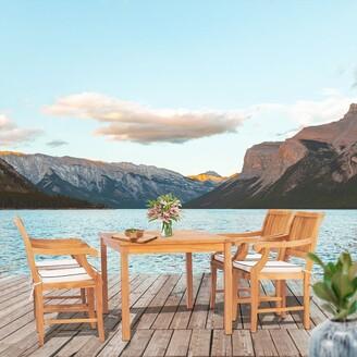 "Chic Teak 5 Piece Teak Wood Bermuda 55"" Rectangular Small Bistro Dining Set including 4 Arm Chairs"