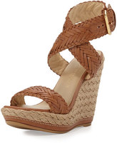 Stuart Weitzman Elixir Braided Leather Wedge Sandal, Adobe