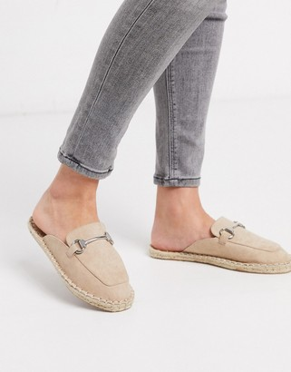 ASOS DESIGN Jace loafer espadrille mules in sand
