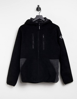 Replay hooded fleece in black