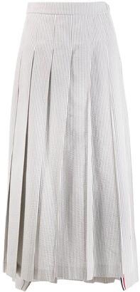 Thom Browne seersucker long pleated skirt